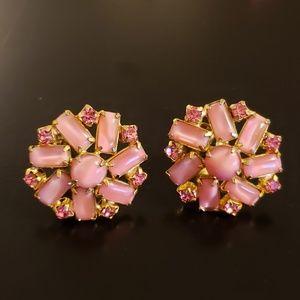 💕Vintage Pink Rhinestone Clip Earings